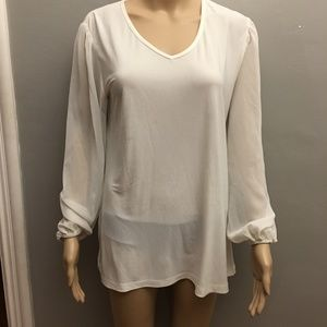 CSC STUDIO - Sheer Sleeve Tunic/V-Neck Top